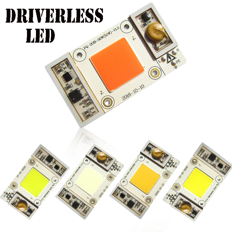 1pcs 50W 220V Driver Free driverless Cool White / Warm / Neutral / Bule / White Full Spectrum Plants COB LED Grow Lights lamp цена