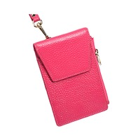 Artmi Lady Wallet Work ID Bus Card Case Leather Zipper Card Holder Hand Strap Change Card