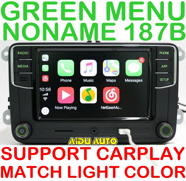 AIDUAUTO Carplay <font><b>Noname</b></font> <font><b>RCD330</b></font> RCD330G Plus Radio Green Backlight For Skoda Octavia fabia 6RD 035 187 B 6RD035187B image
