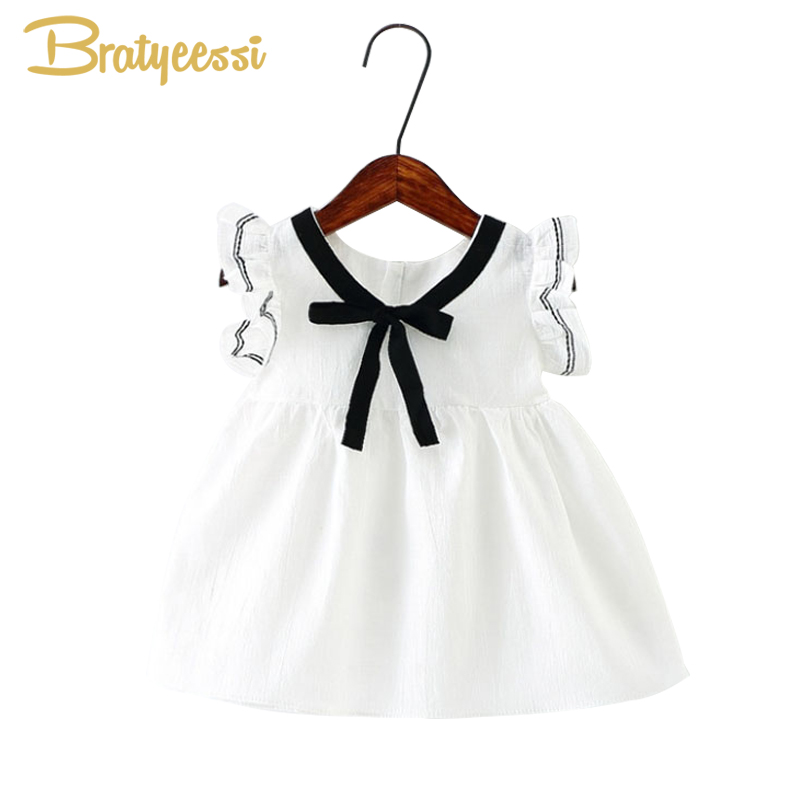 где купить Preppy Summer Baby Girl Dress with Bow Ruffle Sleeve Infant Dresses Cotton Toddler Baby Girl Clothes 4 Colors дешево