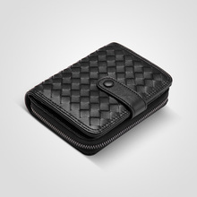 Short Velcro Leather Zipper Wallet