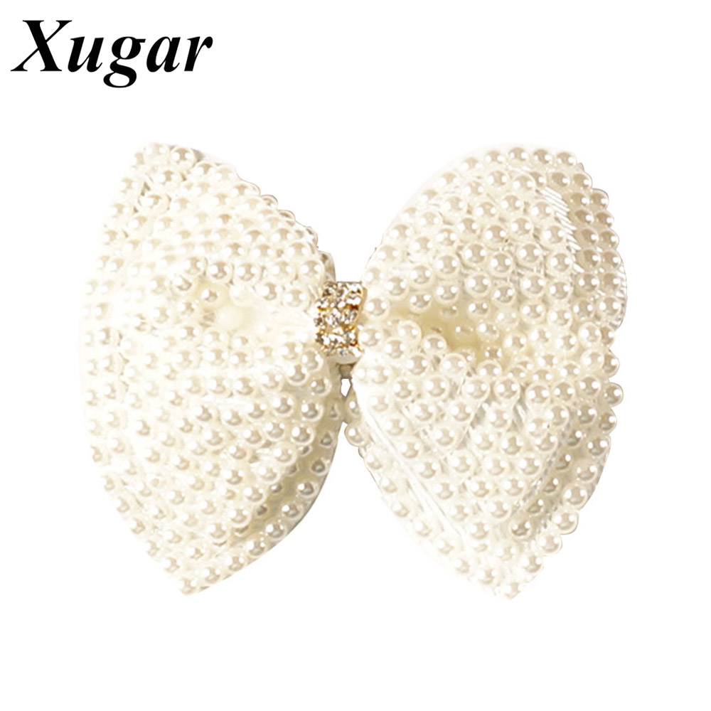 2 Pcs Boutique Pearl Hair Bows For Sweet Girls White Rhinestone Hairbows With Alligator Clip Lovely Pearl Hair Accessories 4 high quality fashion ribbon hair bow for baby girls sweet boutique rhinestone alligator chips pearl diy hair accessories