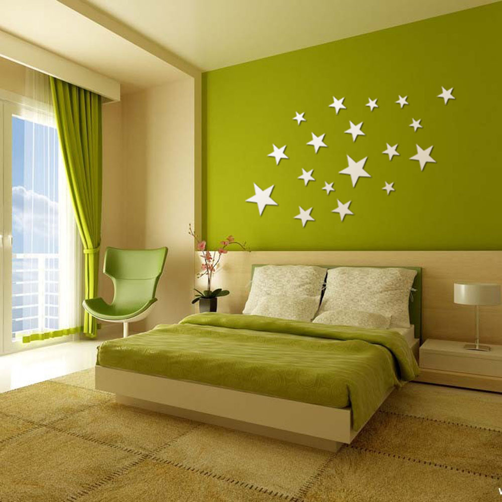 Ceiling Decoration Acrylic Five pointed Star Mirror Wall Stickers ...
