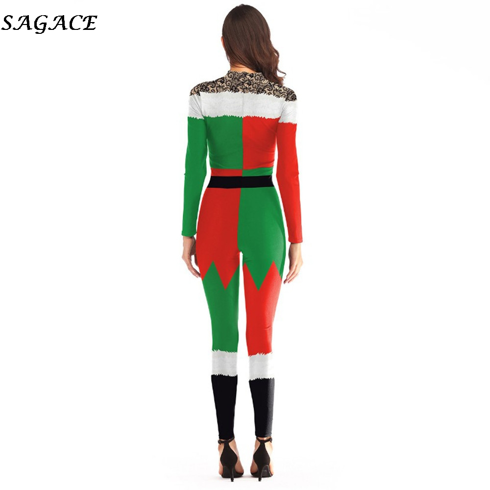 check out los angeles another chance US $6.39 38% OFF SAGACE Autumn Elegant rompers womens jumpsuit Christmas  Ball Party Santa Claus COS sexy bodysuitUp long sleeve bodysuit 2018 new-in  ...