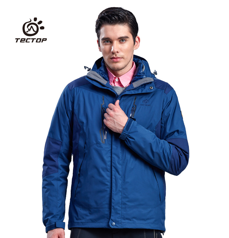 Tectop 2016 New Autumn Winter 3 in 1 Hiking Jackets Men Outdoor Sport Waterproof Thermal Skiing Two-piece Coats Down Coat S-XXXL 2017 new couple outdoor sports jackets men s three in one excursions hiking hooded women s two piece ski clothes fishing hunting