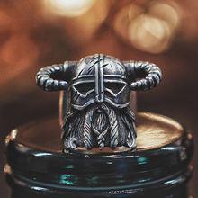 Vikings Nordic Style Horns Helmet Warrior Ring Mens Vintage Heavy Stainless Steel Rings Unique Biker Jewelry