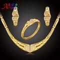 Mulheres na moda Do Presente Do Partido casamento Dubai Banhado A Ouro África Nigéria Moda rhinestone Colares Brinco coração Conjuntos de Jóias grandes
