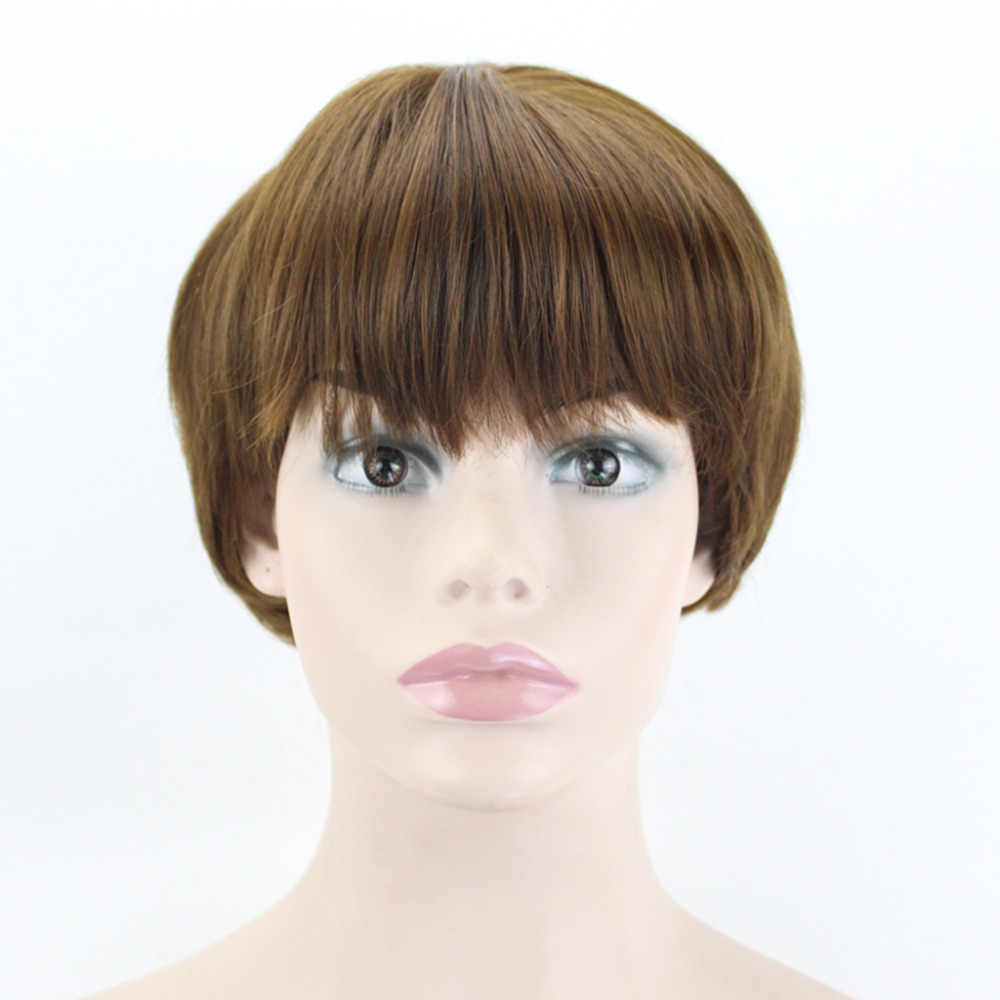 JOY&BEAUTY Noble Beauty 8 inchs Short Straight Wigs Synthetic Heat Resistant Fake Hair 4 Styles Brown Black Gray For Women
