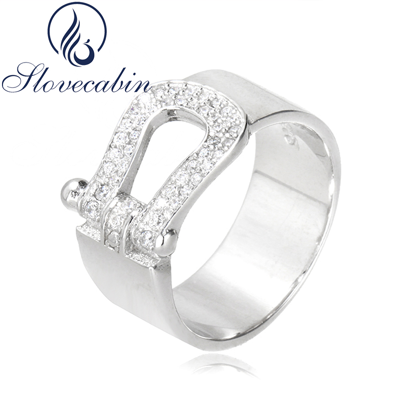 Slovecabin New Collection Original 925-Sterling-Silver Wedding Ring With Clear CZ For Wo ...