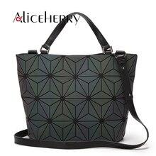 Japón estilo moda mujeres luminoso SAC baobao diamante Tote geometría acolchado Bolsos de hombro láser Plain plegable mano Bolsas bolso