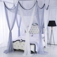 Топ Романтические свадебные углы сообщение кровать Шторы дворец Москитная принцессы Свадебные москитная сетка кровать палатка, Ropa de Кама,