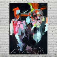 Palette knife portrait Face Oil painting Character figure canva Hand painted Francoise Nielly wall Art picture for living room35
