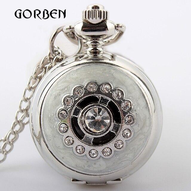 Retro Antique Bronze Silver Quartz Pocket Watch Vintage Crystal Necklace Pendant