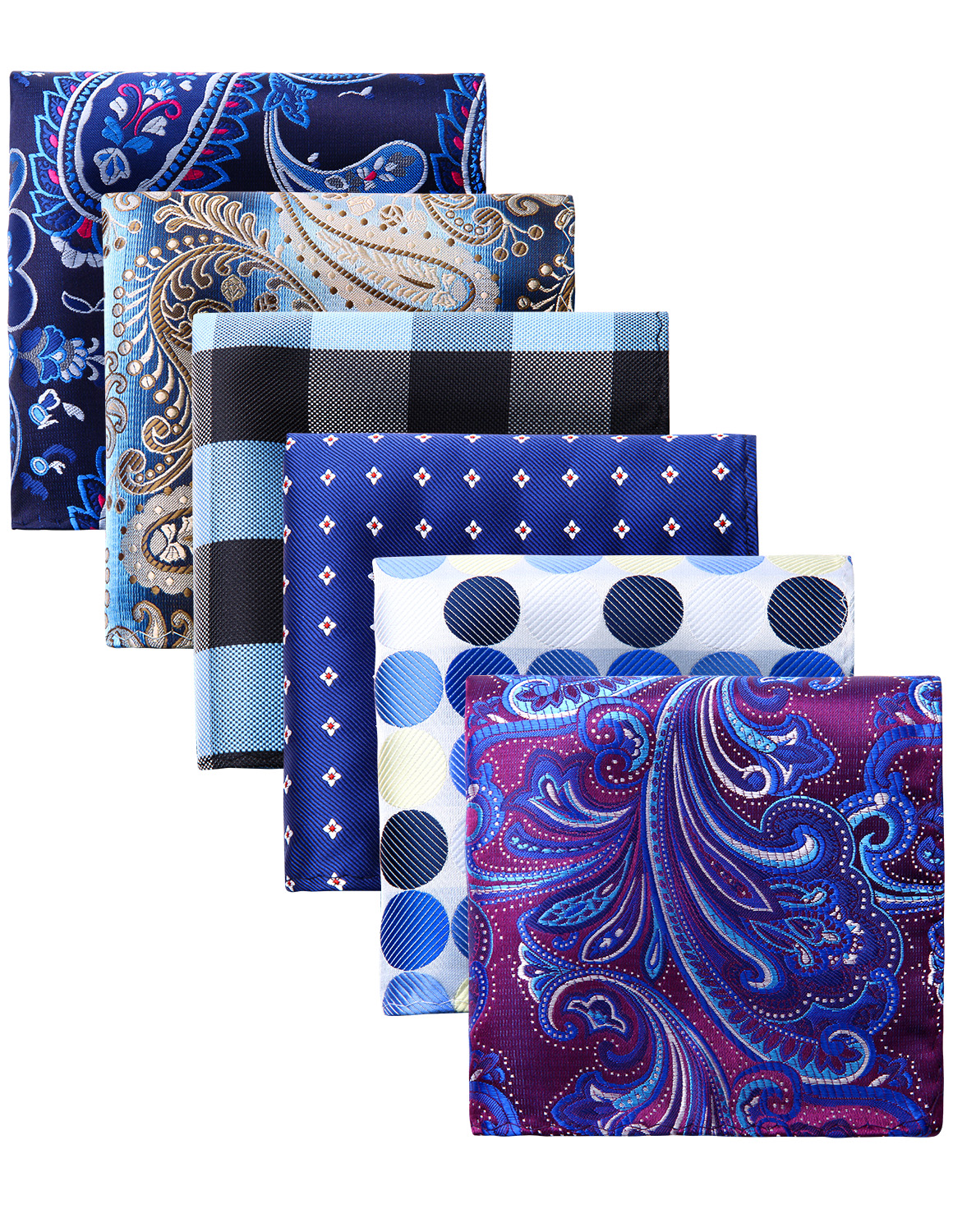Pocket Square Men Fashion Paisley Polka Dot Floral 6 Pcs  25 X 25 Cm Wedding Party Business Handkerchief Gift Box Set