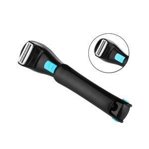 Image 4 - Men Shaving 180 Degrees Foldable Electric Back Hair Shaver Battery Manual Long Handle Hair Remover 1 Razor & 2 Blades