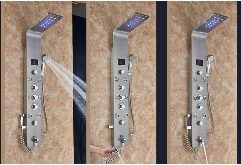 HTB17R5rXzzuK1RjSspeq6ziHVXaP LED Light Shower Faucet Bathroom Waterfall Rain Black Shower Panel In Wall Shower System with Spa Massage Sprayer and Bidet Tap