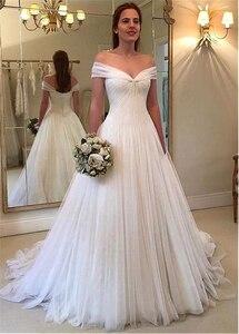 Image 3 - Elegant Tulle Off the shoulder Neckline A line Wedding Dresses With Pleats Tulle Bridal Dress vestido de noiva sereia