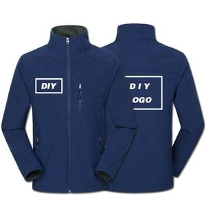 Image 3 - Własne Logo Design drukowane męskie kurtki jesienne wodoodporny płaszcz wiatroszczelny zamek Softshell Degisn topy na wierzch