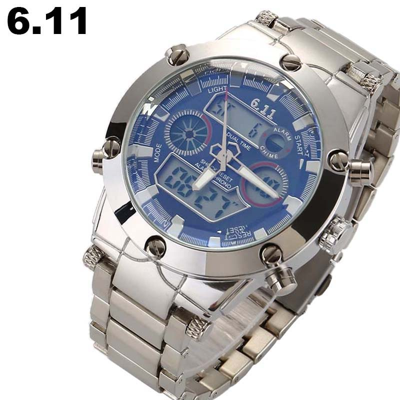 Brand Dual Display Fashion Digital Watch Men Led Steel Sports Quartz-Watch Shock Resistant Luminous Wristwatches