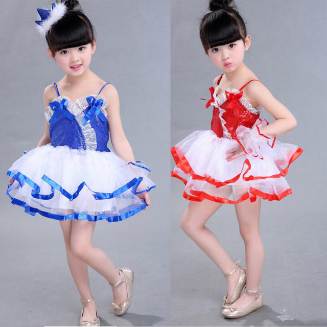 f84ee3af7004 Children's Dance Performance dress Girls Jazz Modern Dancing Costumes dress  Kids hip hop Tap Sequined dance dress