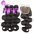 8А Класс Малайзийские Виргинские Волосы С Закрытием Дешевые Человеческих Волос Weave 4 Связки Малайзии Объемная Волна С Lace Closure Природных цвет