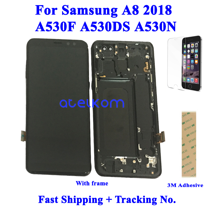 Tested Super AMOLED For SAMSUNG A8 2018 A530F LCD For SAMSUNG A530 A530F A8 2018 Display