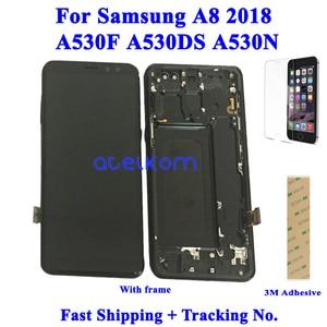 Image 1 - Testado super amoled para samsung a8 2018 a530f lcd para samsung a530 a530f a8 2018 display lcd tela de toque digitador assembléia