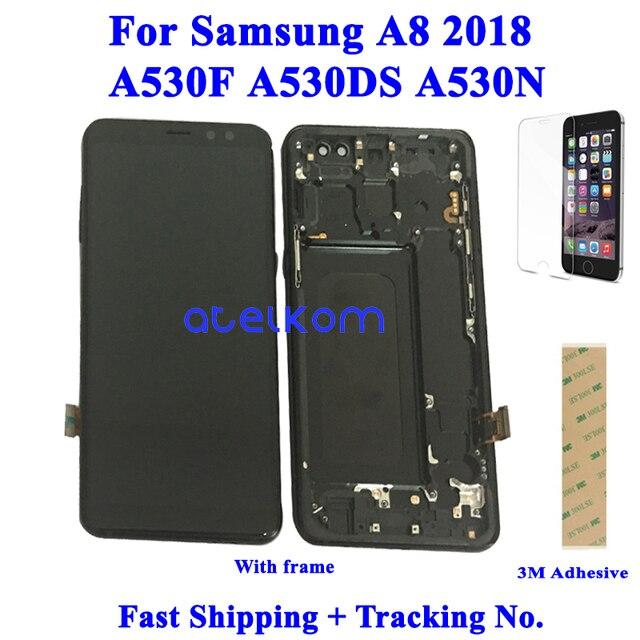 Testado super amoled para samsung a8 2018 a530f lcd para samsung a530 a530f a8 2018 display lcd tela de toque digitador assembléia