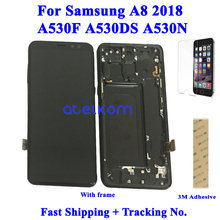 Testato Super AMOLED Per SAMSUNG A8 2018 A530F A CRISTALLI LIQUIDI Per SAMSUNG A530 A530F A8 2018 Display LCD Touch Screen Digitizer montaggio