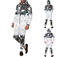 Litthing 2019 Spring 2PCS tracksuits Men Fashion Camouflage Print hoody tops Casual Sportwear Set Suit Sweatshirt Pants Suits