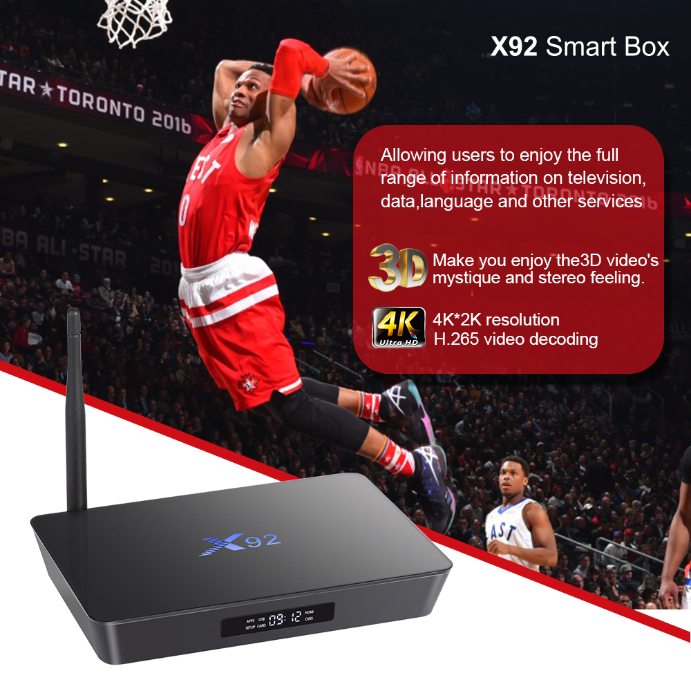 [Orijinal] X92 2GB / 3GB 16GB / 32GB Android 7.1 TV Box Amlogic S912 - Evdə audio və video - Fotoqrafiya 5