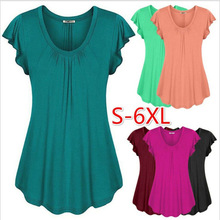 2019 hot sale large size womens solid color lotus leaf sleeve short-sleeved T-shirt clothing S-6XL summer shirt
