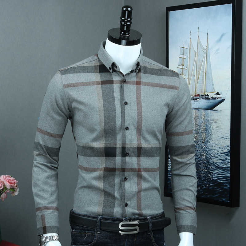 (without Chest Pocket) Men's 100% Cotton Checked Casual Shirts Button Down Collar Long Sleeved Good Quality Business Male Tops