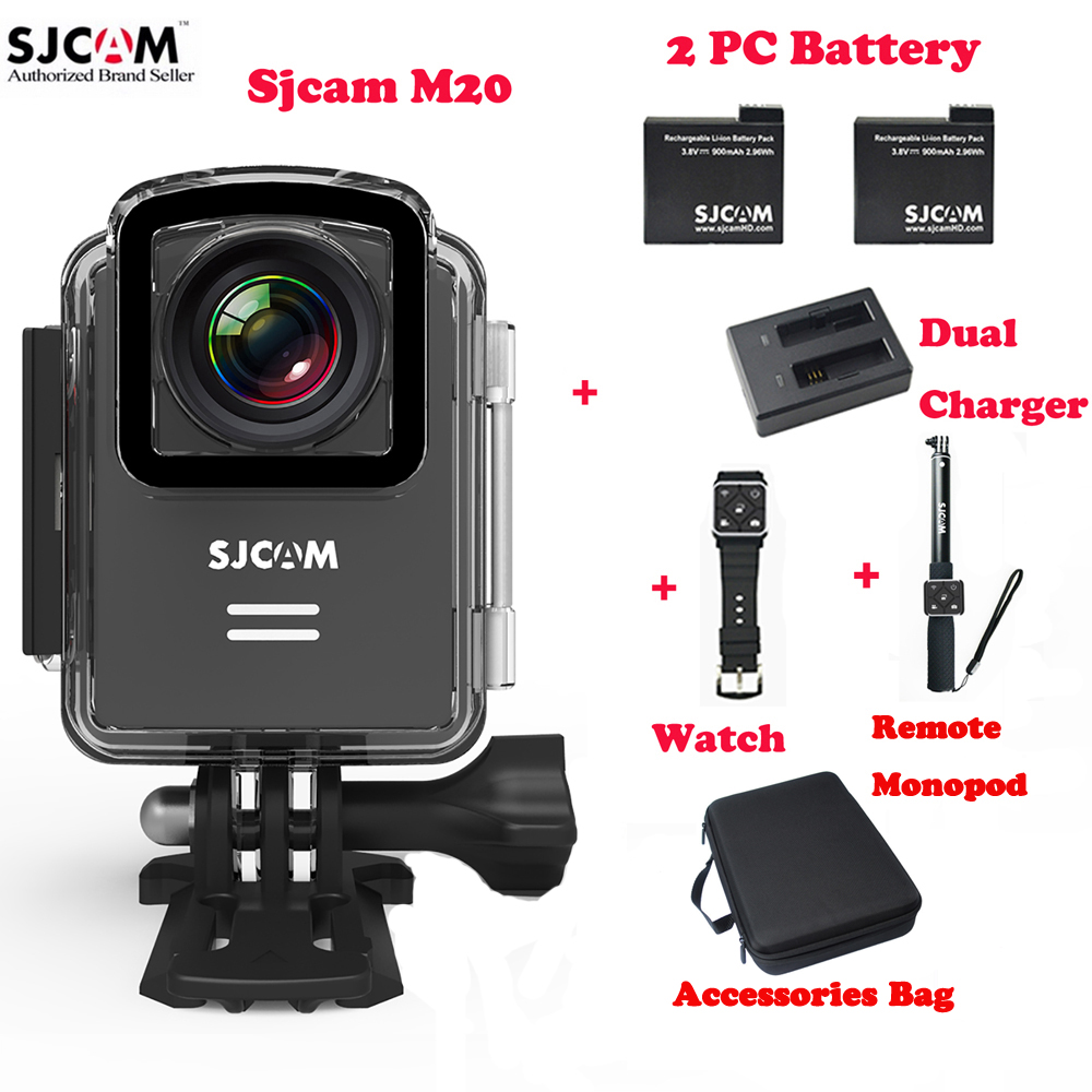 SJCAM M20 Wifi Outdoor Sports Action Camera 30M Waterproof Sj Cam DV+Remote Watch+Remote Monopod+2Battery+Dual Charger+Bag original sjcam m20 wifi 4k 24fps 30m waterproof sports action camera sj cam dvr 2 extra battery dual charger remote monopod