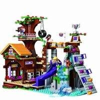 BELA 739Pcs 10497 Friends Adventure Camp Tree House Tire Swing Model Building Minis Blocks Girl Toys