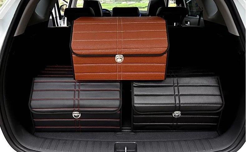 Коричневые кожаные багажнике автомобиля Организатор прочный складной ОГРН держатель коробка для хранения багажник автомобиля 3 KLMH-5