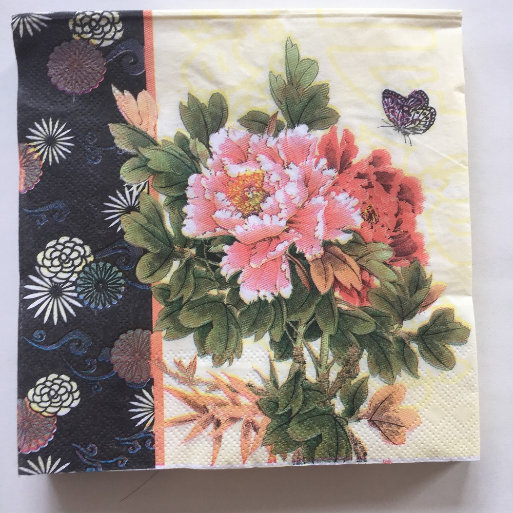 Vintage Decoupage Paper Napkins Pink Red Flower Peony Butterfly