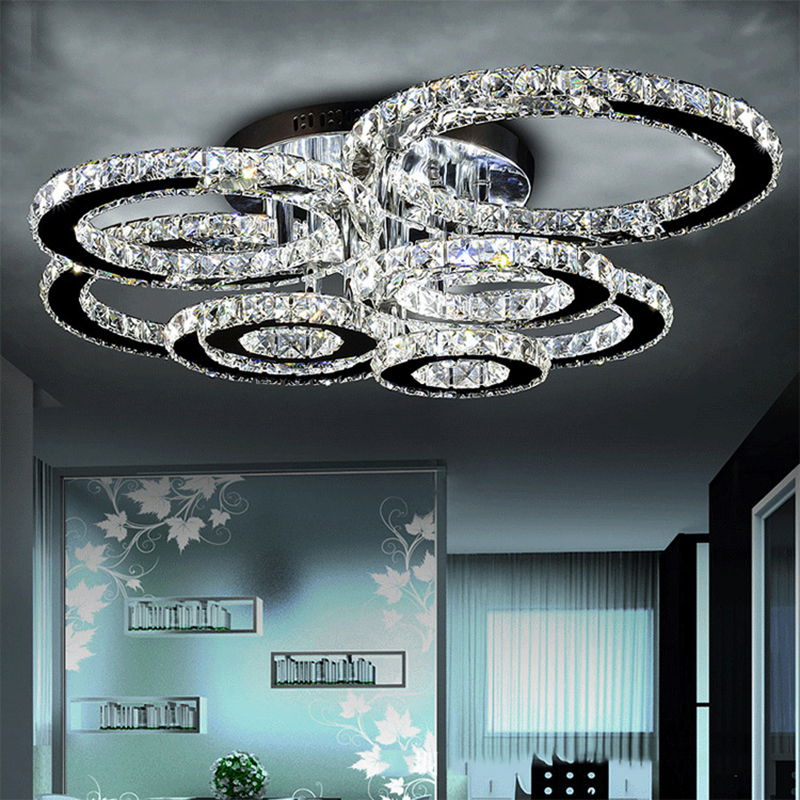 Modern led crystal chandelier light Round Circle Flush