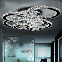 Modern led crystal chandelier light Round Circle Flush Mounted Chandeliers lamp living room Lustres for Bedroom Dining room