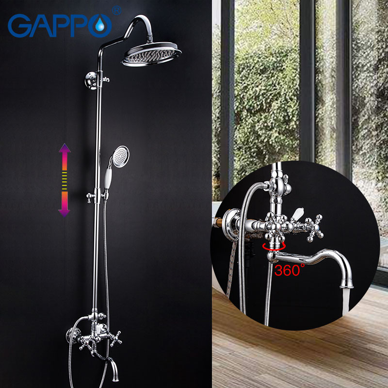 GAPPO robinet de douche salle de bain ensemble de douche robinets muraux en laiton douche cascade robinet mélangeur douche à main système de douche de pluie