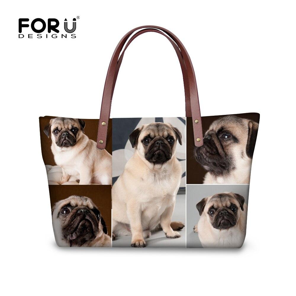 ФОТО FORUDESIGNS Big Capacity Women Causal Handbags Tote Pug Dog High Quality Women Shoulder Bag For Teenager Girls Animal Ladies Bag