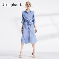 Glouphant Autumn Classic Slim Blue Striped Dress Shirt Fashion Basic Midi Dress Elegant Casula Summer Women