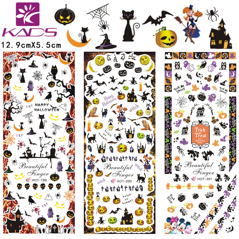 12 patterns/sheet Halloween Nail Water Decals Flowers Transfer ...