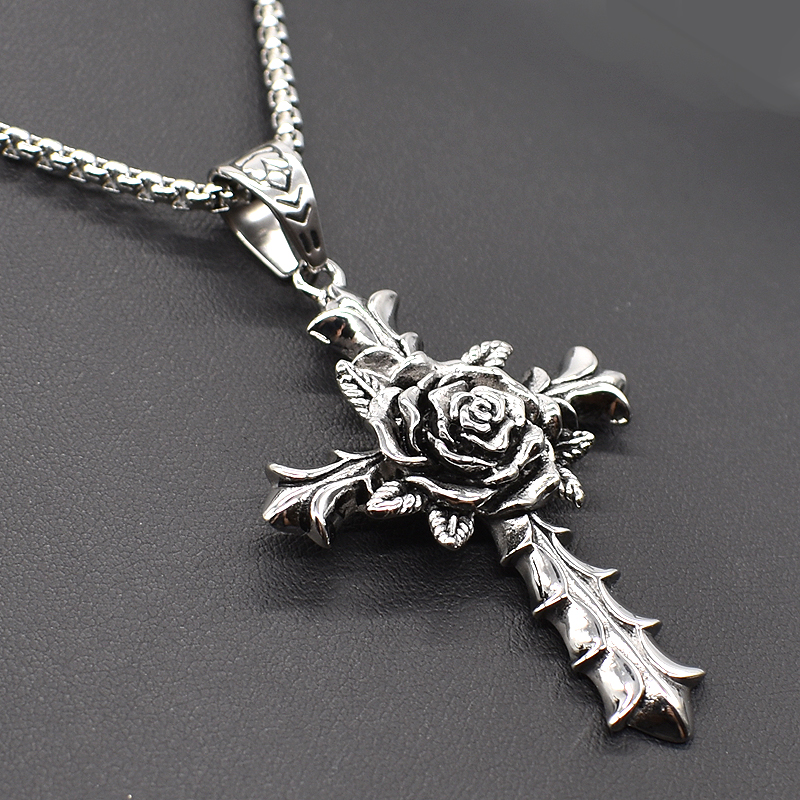 AMUMIU 40/45/50/55/60cm Men Women Rose Cross Casting Punk Pendant Necklace Chain For Jewelry Bike Hot Sale HZP236
