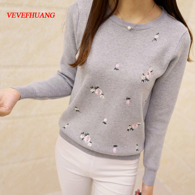 VEVEFHUANG 2018 Korean Autumn spring fashion new solid color round collar full sleeve loose embroidered sweater women