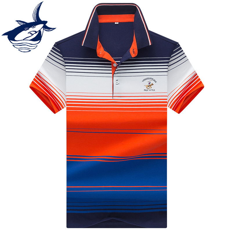 2019 Summer Short Sleeve   Polo   Shirt Men Casual & Business Brand Tace & Shark 3D Embroidery Striped   polos   shirts para hombre