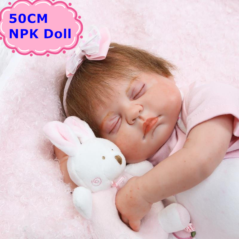 50cm NPK Soft Body Silicone Bebe Reborn Doll Lovely Sleeping Babies As Kids Toys Brinquedo Fashion Birthday Gift For Baby Girls трехместный сетевой удлинитель lux у3 0 10м 4606400414629
