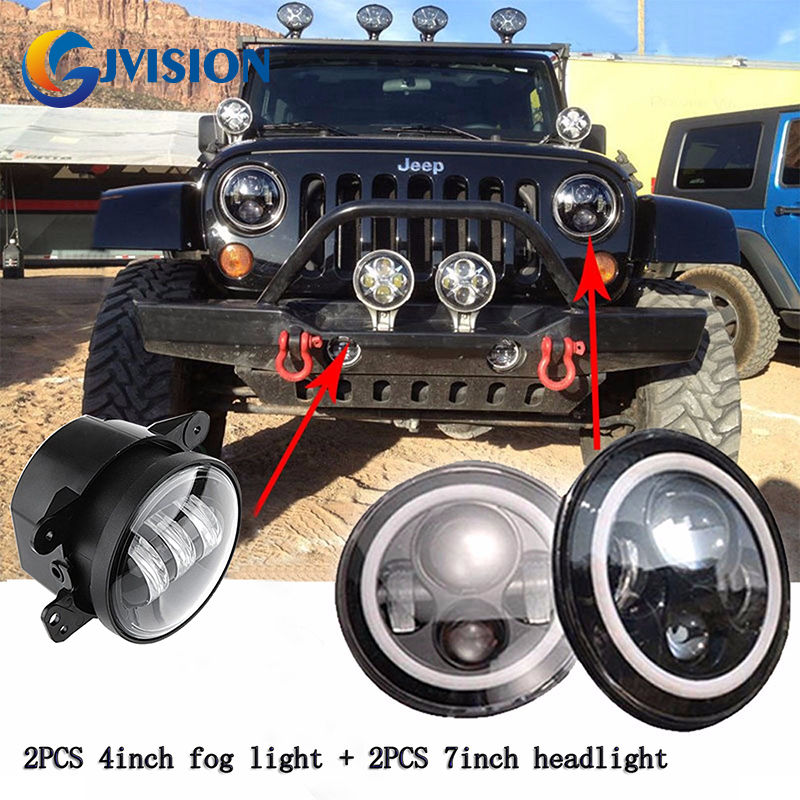 7 INCH LED Headlights White Halo Angel eye DRL led projection Lens + 2PCS 4''inch LED fog light lamps for Jeep Wrangler JK
