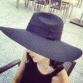 2016 Nueva Summer Grande Ancho Brim Sombreros de Paja para Las Mujeres de Playa Sombreros para el sol Sombreros de Panamá Sun Cap Chapeau de Contraste de Color Paille Negro