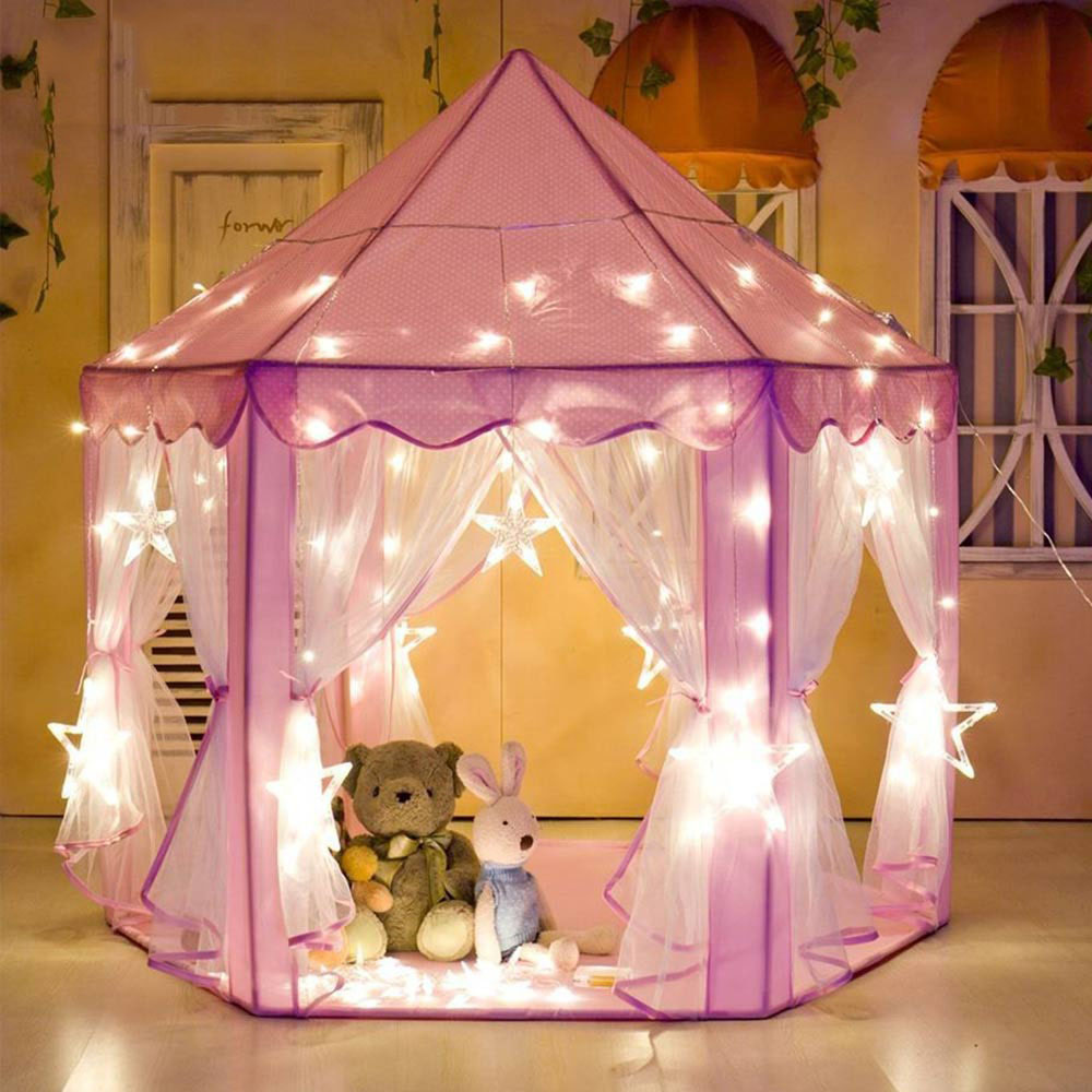 La pequeña J niña princesa Castillo Rosa tiendas de campaña portátil de los niños al aire libre de jardín plegable tienda Lodge niños bolas piscina de juegos